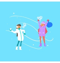 Cheerful girls playing snowballs vector