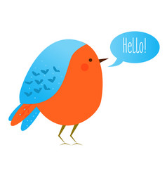 Cute kawaii bird with speech bubble saying hello vector