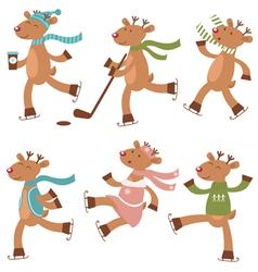 Cute skating deers vector image