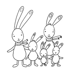 Family of cute cartoon hares vector image vector image