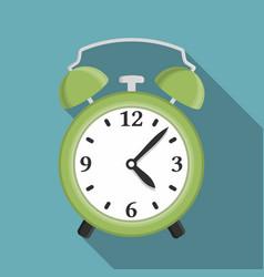 flat green alarm clock vector image vector image
