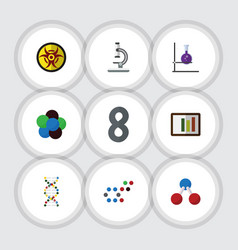 flat icon knowledge set of proton genome danger vector image