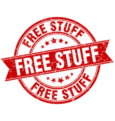 Free stuff round grunge ribbon stamp vector