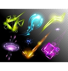 Glowing Light Effect set Sparkling Efect vector image