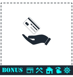 Hands and credit card icon flat vector