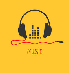 headphones with cord and equalizer word music card vector image