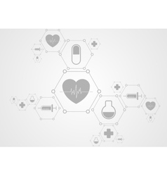 Health grey tech background and medical icons vector