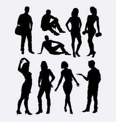 Male and female people activity silhouettes vector image vector image