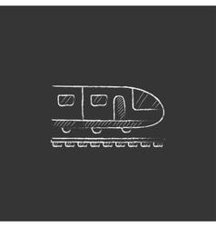 Modern high speed train drawn in chalk icon vector