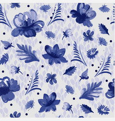 painting flowers in blue and white vector image vector image
