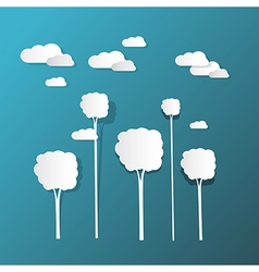 Paper Clouds and Trees on Blue Background vector image