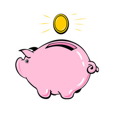 piggy bank and coin the concept of financial vector image vector image