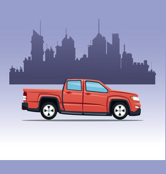 Red pick up double cab city background vector