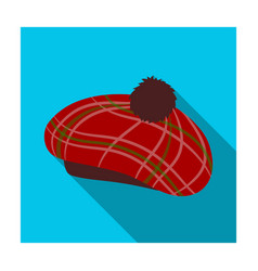 Scottish traditional cap icon in flat style vector
