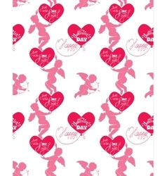 Seamless pattern with silhouettes of angel and vector image vector image