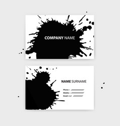 set of business cards with black ink splashes vector image