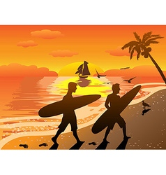sunset beach surfers vector image vector image