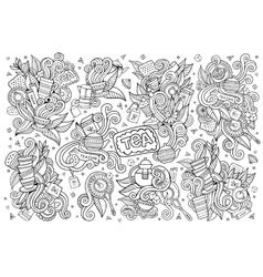 Tea time doodles hand drawn sketchy symbols vector
