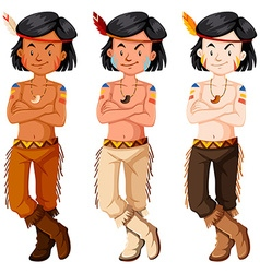 Three native american indian boys vector image vector image