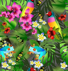 Tropical flowers and leaves and beautiful bird vector image