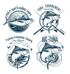Tuna logos sport fishing club logos vector