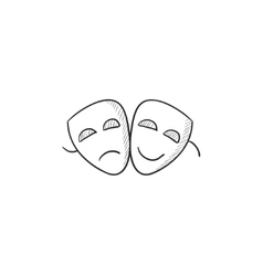 Two theatrical masks sketch icon vector image