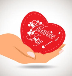 Valentine heart in hand vector