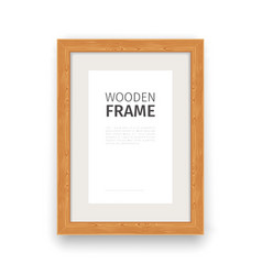 Wooden rectangle frame natural vector