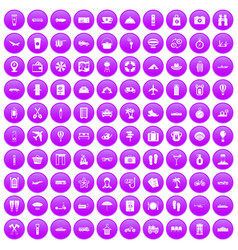 100 travel time icons set purple vector