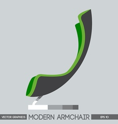 Green and silver modern armchair over light backgr vector