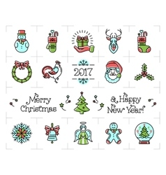 Christmas icons set new year isolated symbols vector