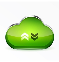 Green modern 3d glass cloud icon vector