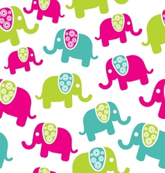 Seamless retro elephant pattern vector