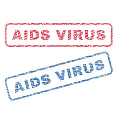Aids virus textile stamps vector