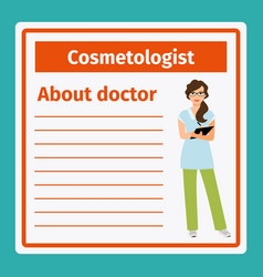 Medical notes about cosmetologist vector