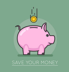 Money saving bank coin pig concept lineart design vector