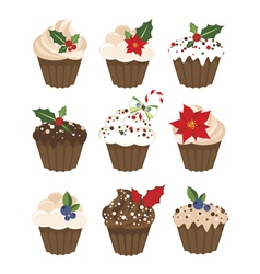 Set of christmass muffins vector