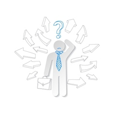 Paper man arrow and question mark Business concept vector image