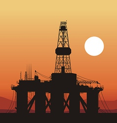 Oil rigs ship and sunset in the ocean vector