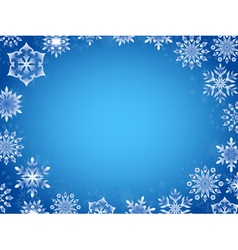 Greeting card with azure snowflakes vector