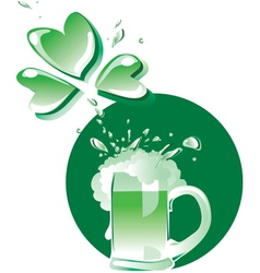 Green beer on patrick day vector