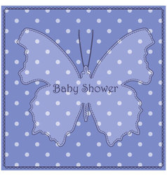 Baby-shower-butterfly-blue-vintage vector image