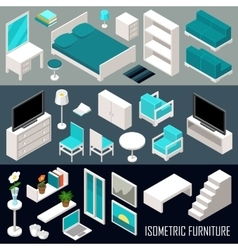 isometric furniture set vector image