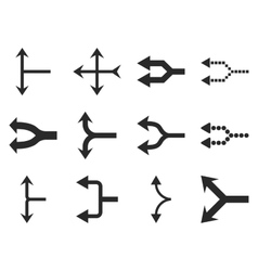 Junction arrows left flat icon set vector