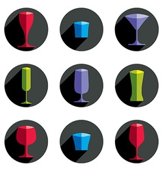Decorative drinking glasses collection Set of vector image