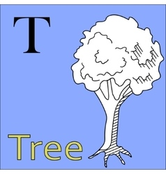 T letter alphabet coloring book tree vector