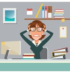 Stressed businesswoman in office work place vector