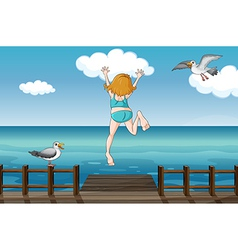 A jumping girl in a water vector image vector image