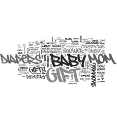 Baby shower gifts that mom will love text word vector
