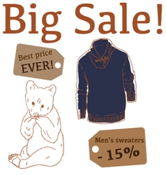 Big Sale with bear mens sweater vector image